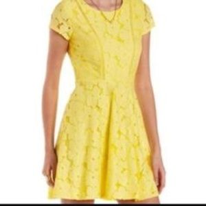 Yellow floral lace dress
